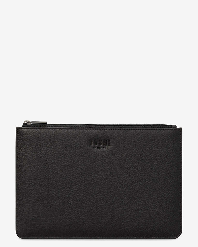 Black Leather Brooklyn Pouch - Black - Yoshi