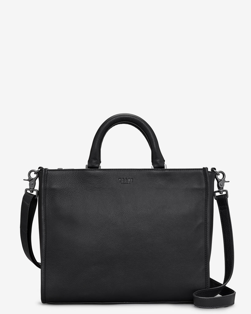 Harwood Black Leather Tote Bag - Black - Yoshi