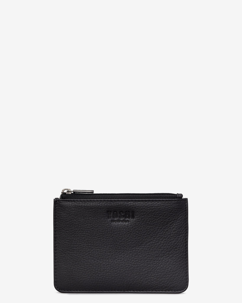 Black Leather Franklin Purse - Black - Yoshi