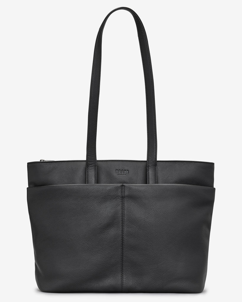 Gresley Black Leather Shopper Bag - Black - Yoshi