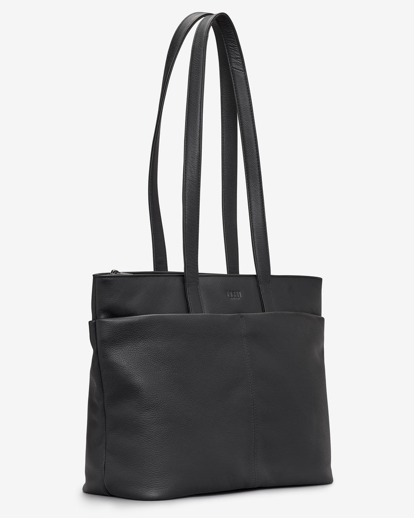 Gresley Black Leather Shopper Bag - Yoshi