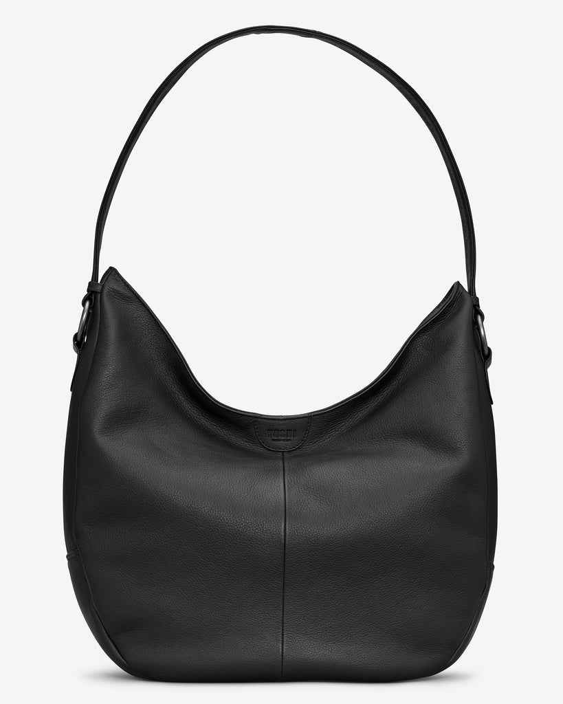 Ludlow Black Leather Shoulder Bag - Black - Yoshi