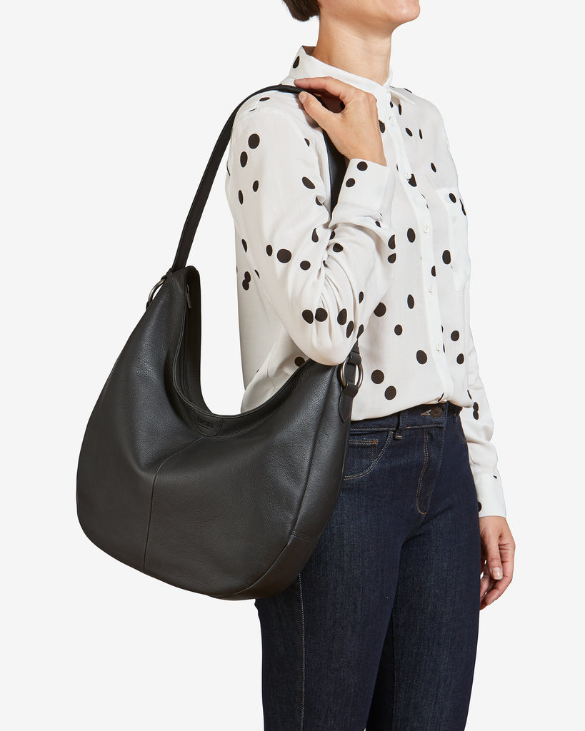Ludlow Black Leather Shoulder Bag - Yoshi