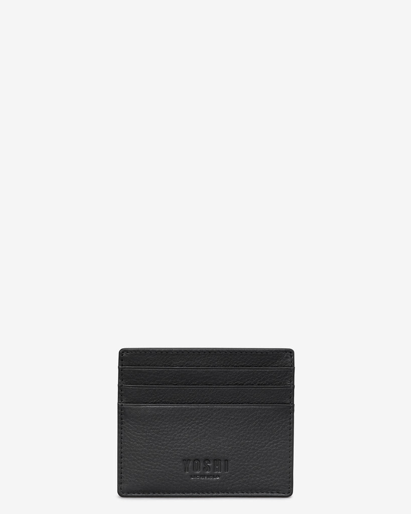 Black Leather Wooster Card Holder - Yoshi