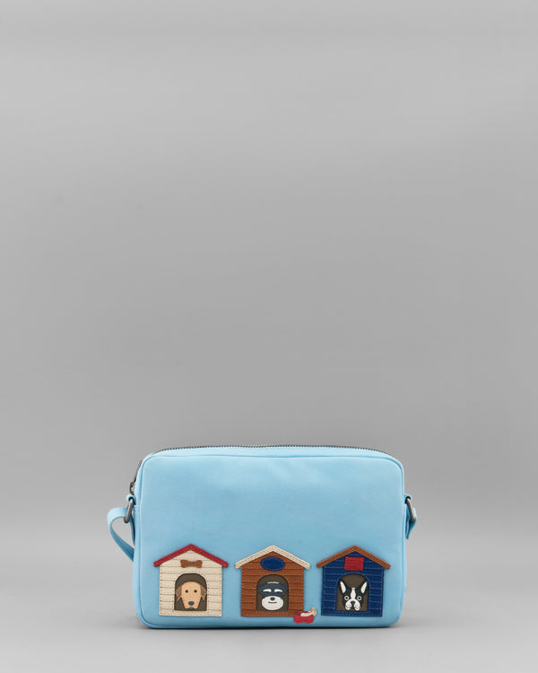 Bone Sweet Bone Blue Leather Cross Body Bag by Yoshi A