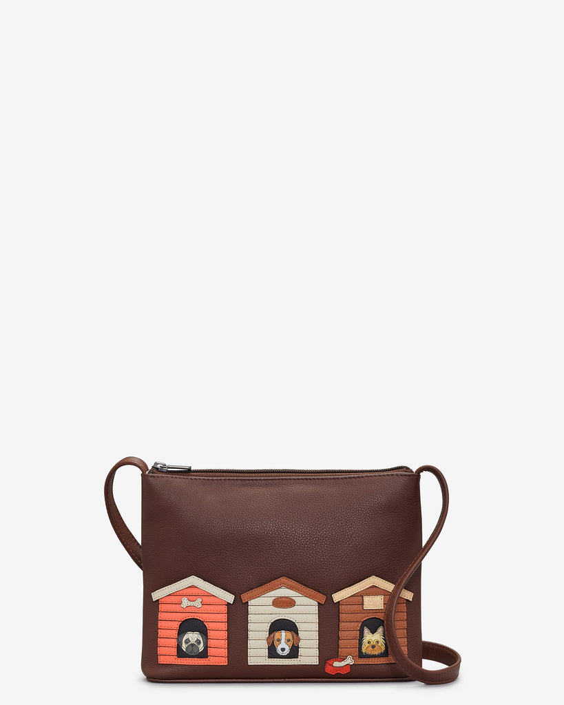 Bone Sweet Bone Brown Leather Cross Body Bag - Brown - Yoshi