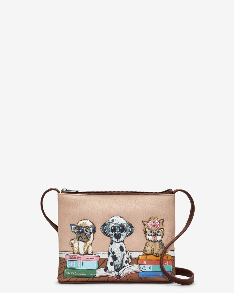 Bookhound Gang Brown Leather Cross Body Bag - Brown - Yoshi
