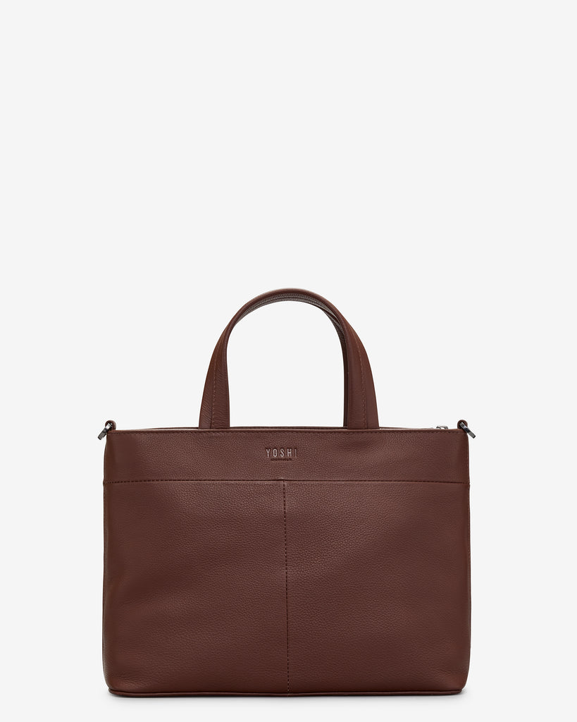 Curiosity Bookshop Brown Leather Multiway Grab Bag -  - Yoshi