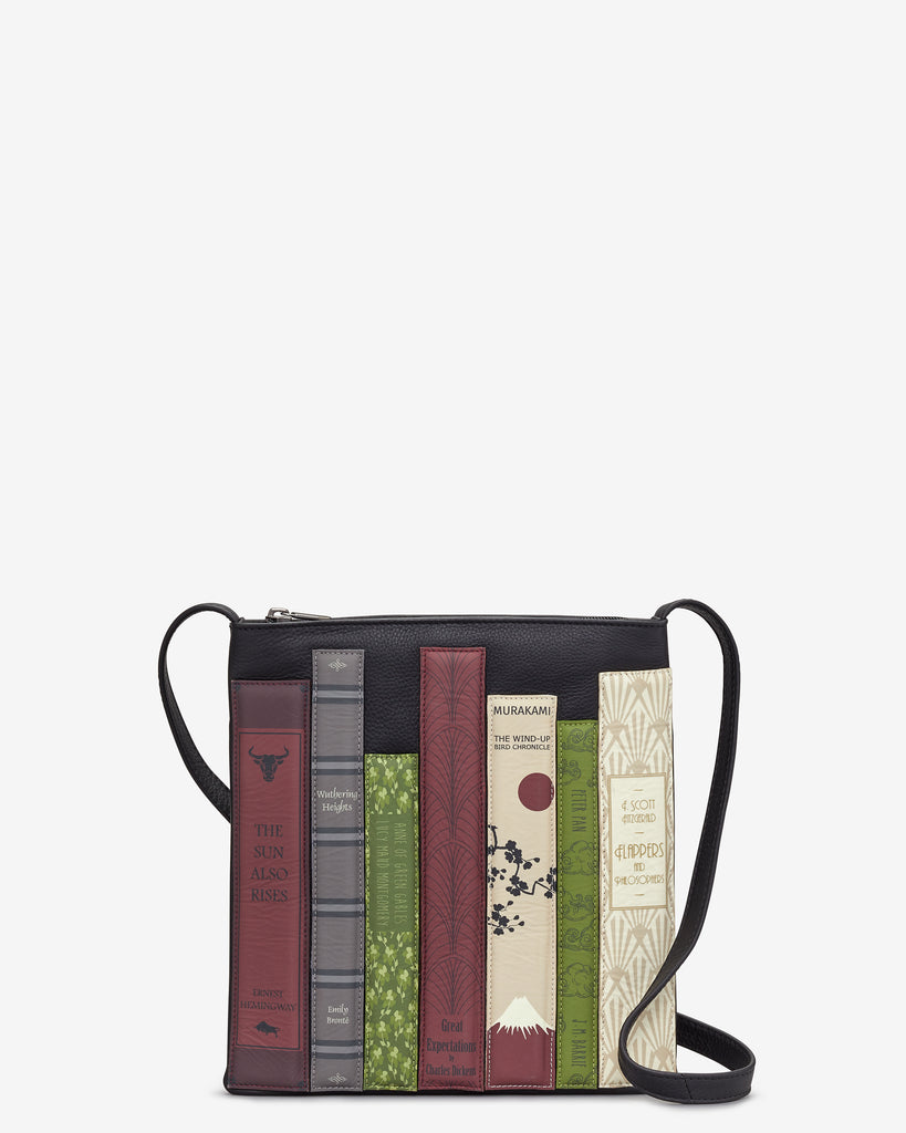 Bookworm Black Leather Cross Body Bag - Black - Yoshi