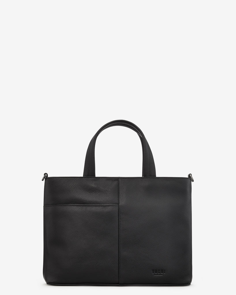 Bookworm Black Leather Multiway Grab Bag -  - Yoshi