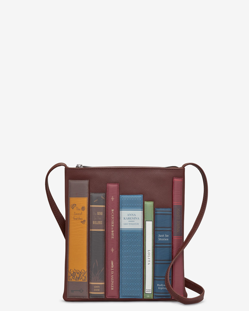 Bookworm Brown Leather Cross Body Bag - Brown - Yoshi