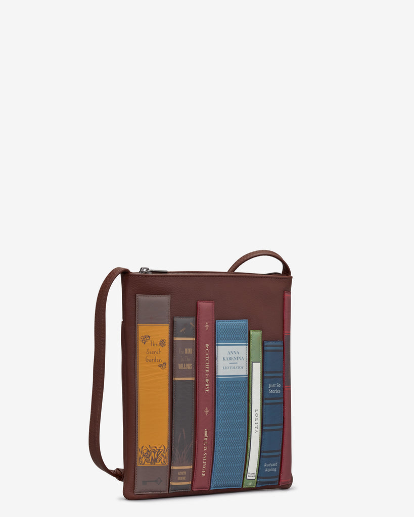 Bookworm Brown Leather Cross Body Bag -  - Yoshi