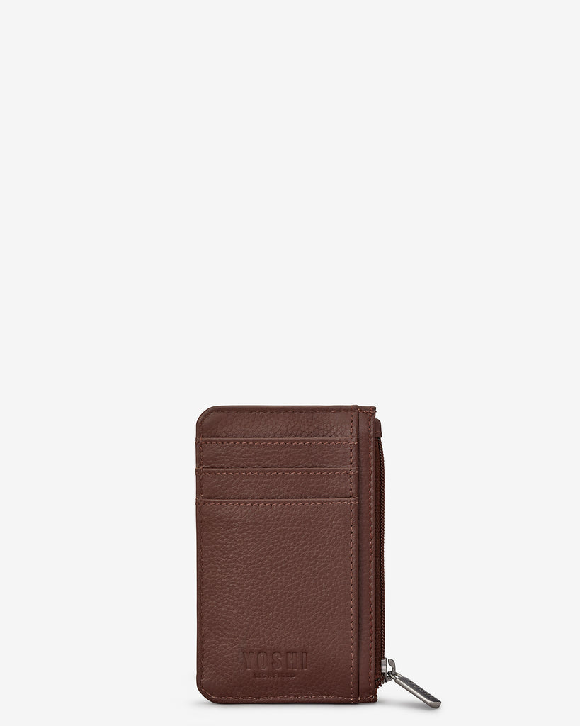 Bookworm Brown Leather Morton Card Holder - Yoshi
