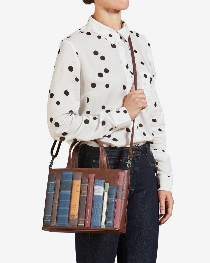 Bookworm Brown Leather Multiway Grab Bag - Yoshi