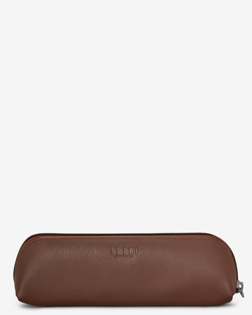 Bookworm Brown Leather Pencil Case - Yoshi