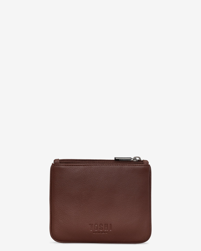 Bookworm Brown Leather Caxton Purse - Yoshi