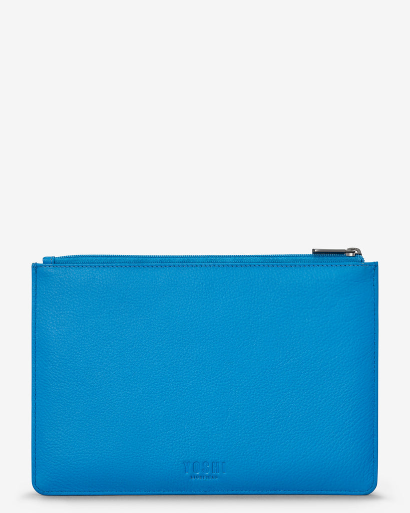Bookworm Cobalt Blue Leather Brooklyn Pouch - Yoshi