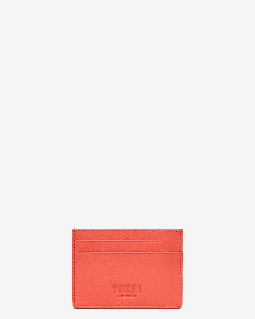 Bookworm Coral Leather Academy Card Holder - Yoshi