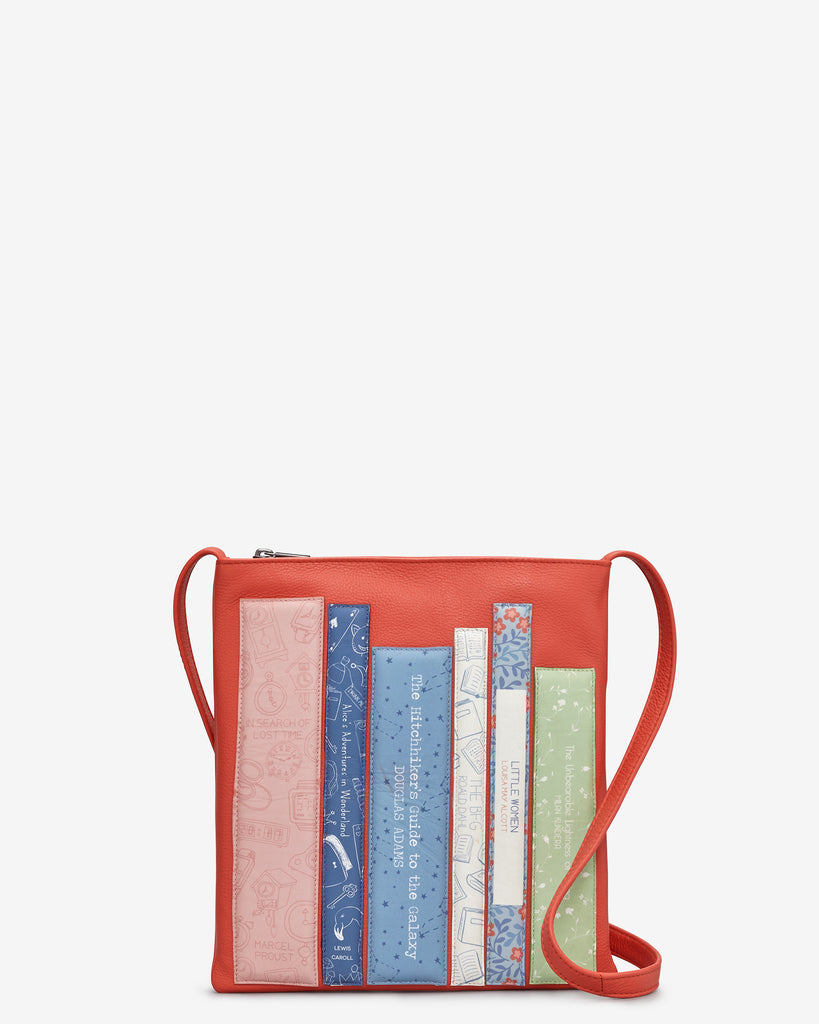 Bookworm Coral Leather Cross Body Bag - Coral - Yoshi