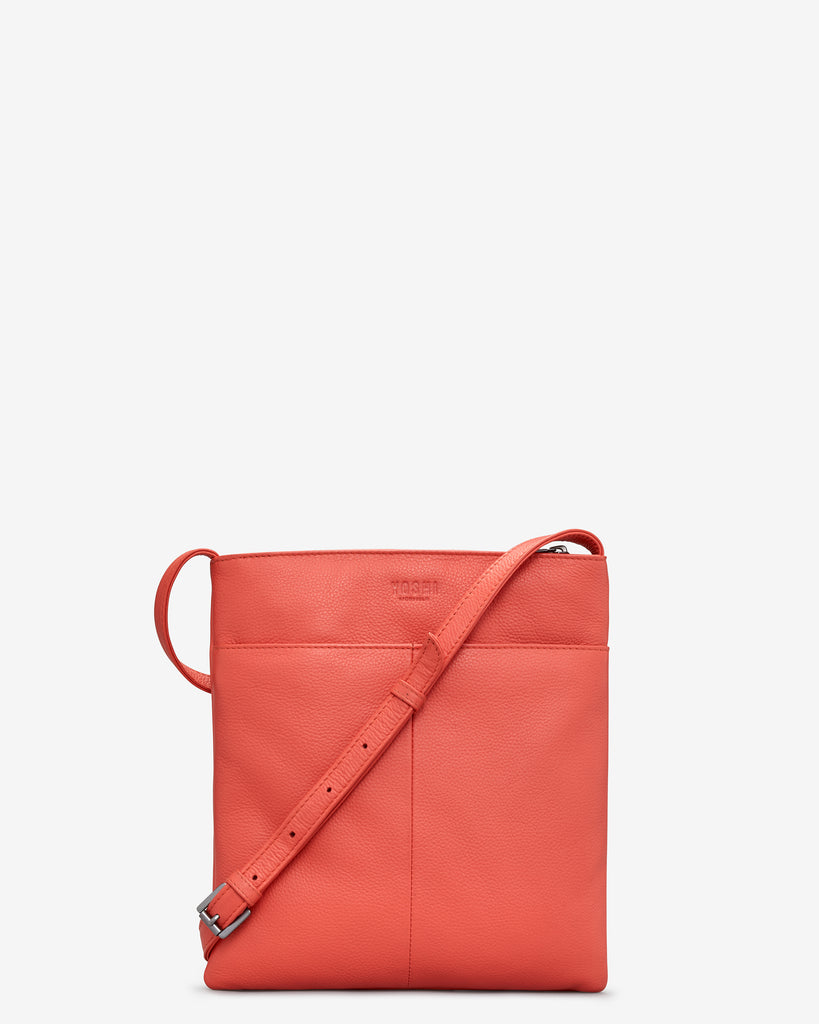 Bookworm Coral Leather Cross Body Bag - Yoshi