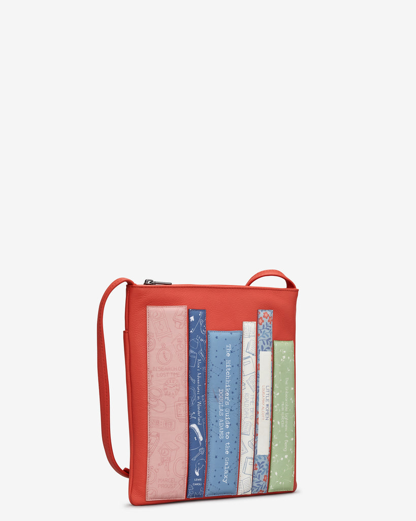 Bookworm Coral Leather Cross Body Bag -  - Yoshi