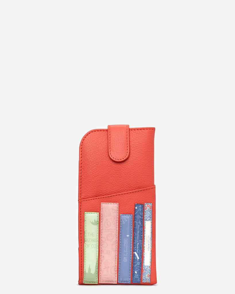 Bookworm Coral Leather Chilton Glasses Case - Coral - Yoshi