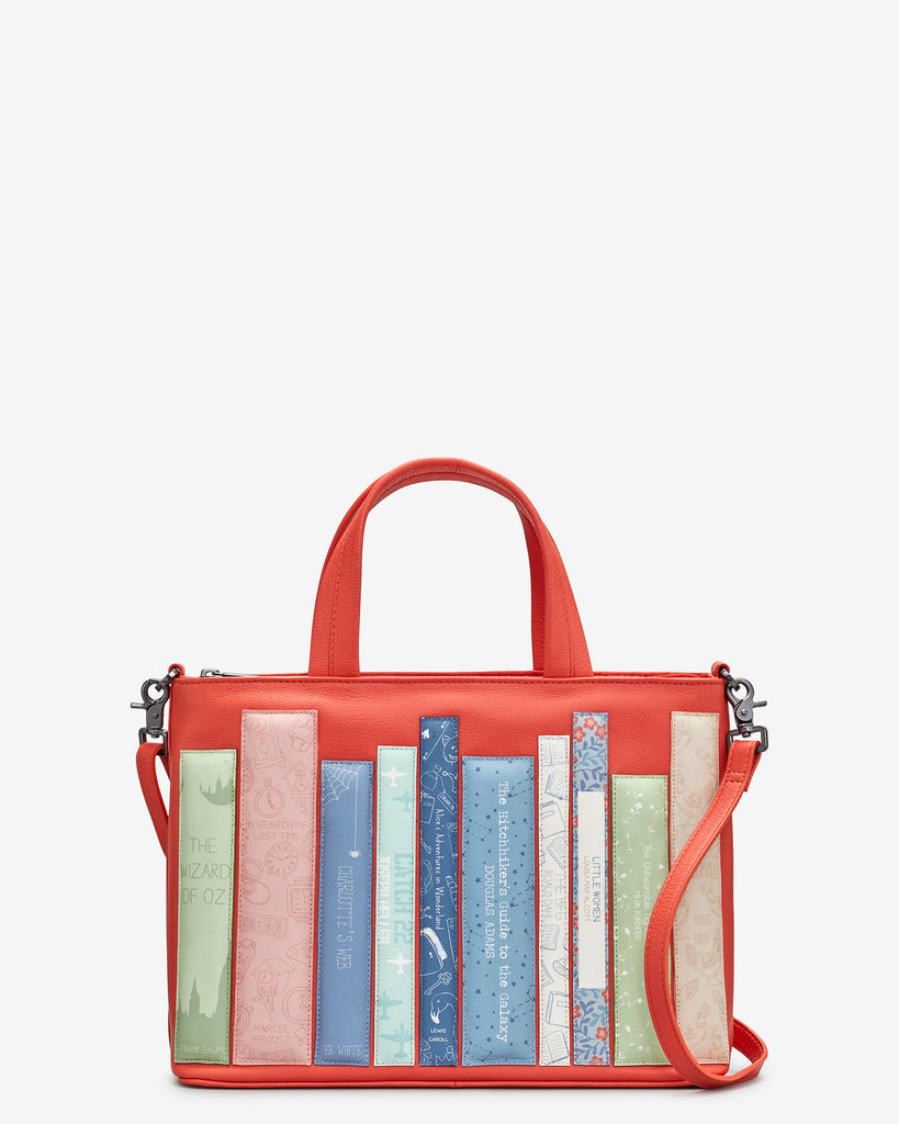 Bookworm Coral Leather Multiway Grab Bag - Coral - Yoshi