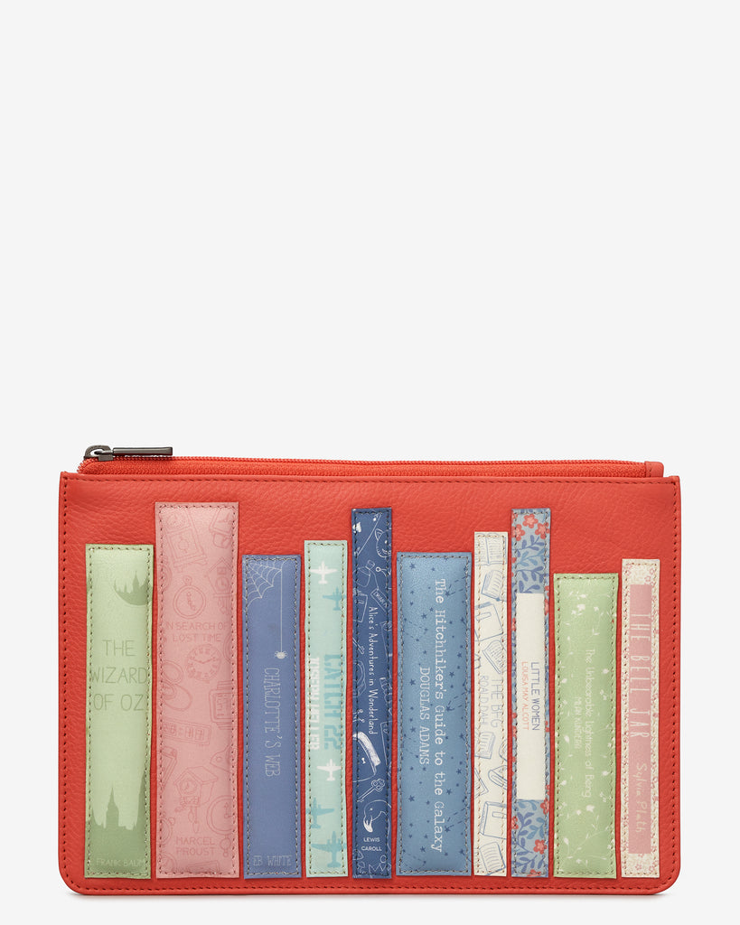 Bookworm Coral Leather Brooklyn Pouch - Coral - Yoshi