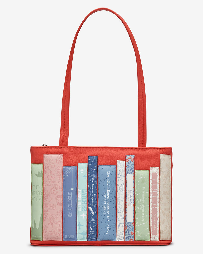 Bookworm Coral Leather Shoulder Bag - Coral - Yoshi