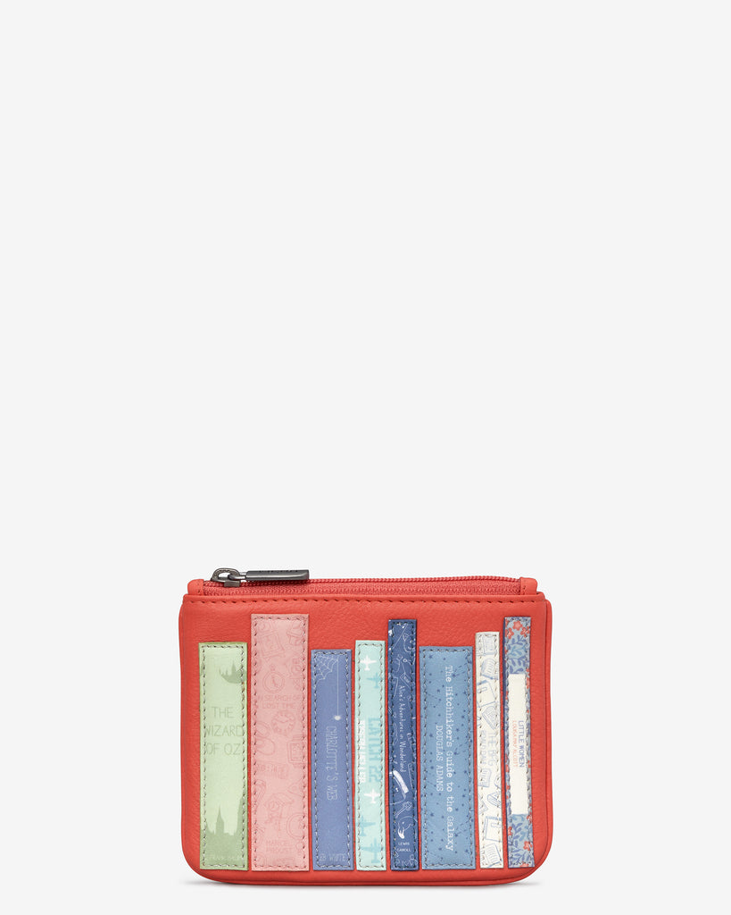 Bookworm Coral Leather Caxton Purse - Coral - Yoshi