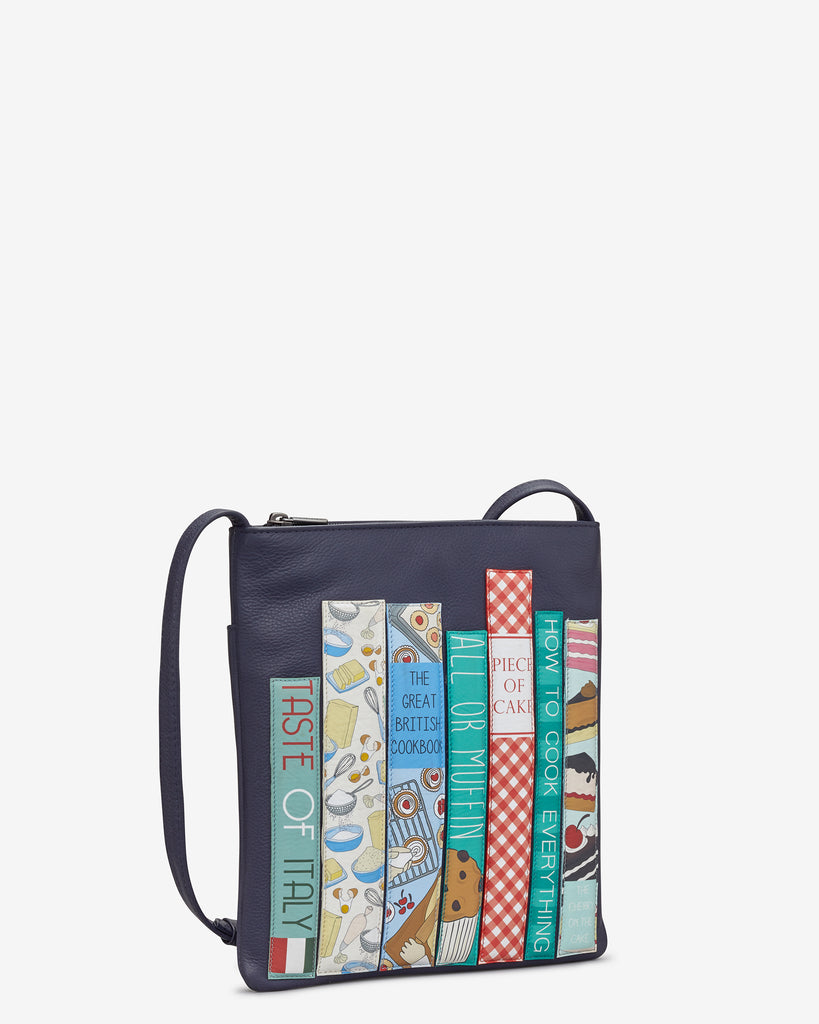 Bookworm Cookbook Navy Leather Cross Body Bag - Yoshi