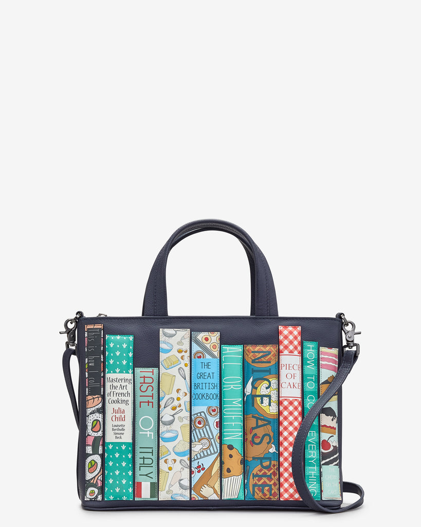 Bookworm Cookbook Navy Leather Multiway Grab Bag - Yoshi