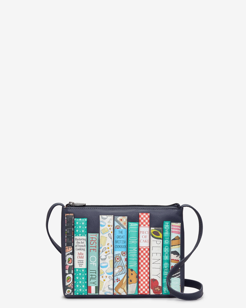 Bookworm Cookbook Navy Leather Cross Body Bag - Navy - Yoshi
