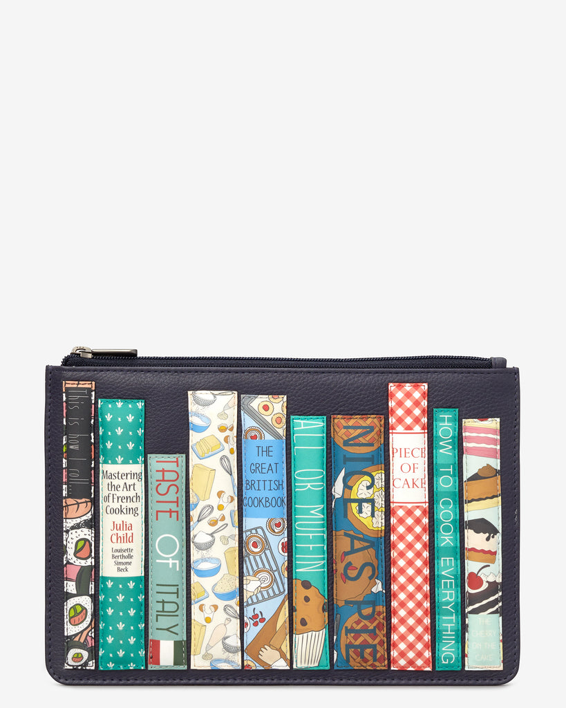 Bookworm Cookbook Navy Leather Brooklyn Pouch - Navy - Yoshi