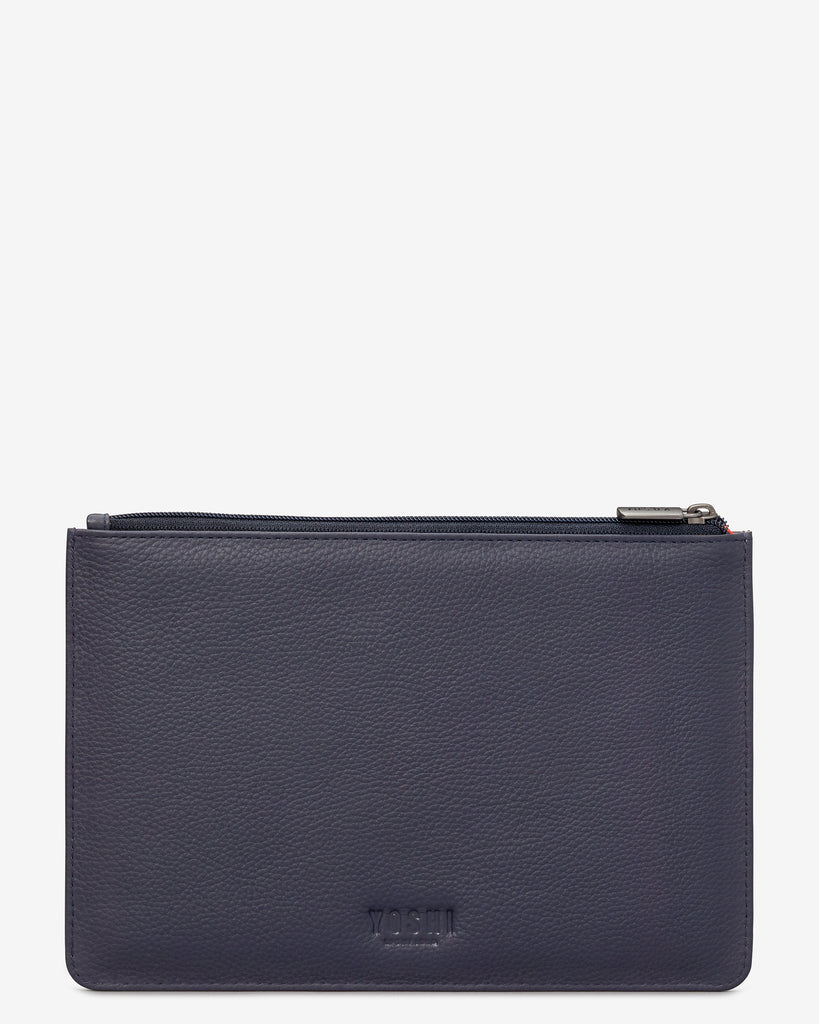 Bookworm Cookbook Navy Leather Brooklyn Pouch - Yoshi