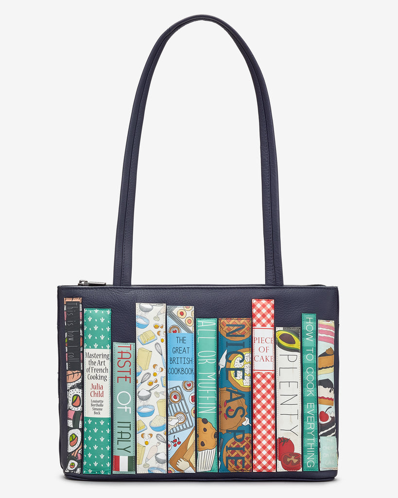 Bookworm Cookbook Navy Leather Shoulder Bag - Navy - Yoshi
