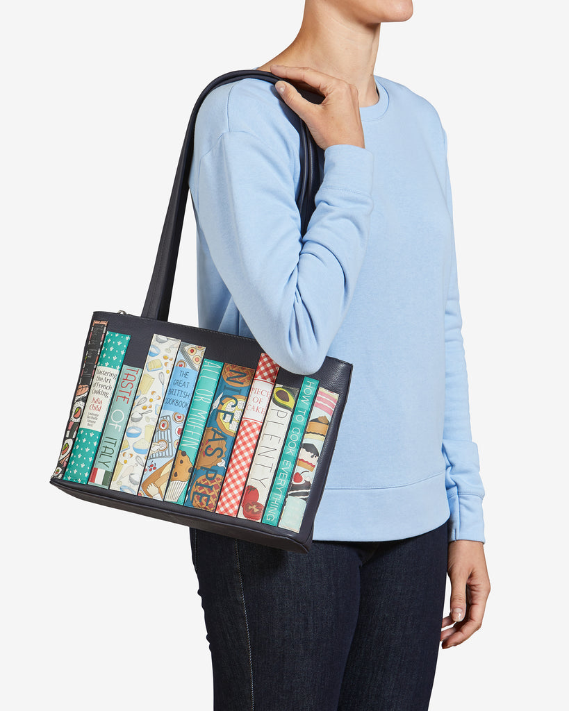 Bookworm Cookbook Navy Leather Shoulder Bag - Yoshi