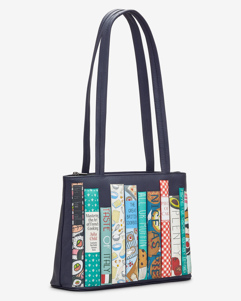 Bookworm Cookbook Navy Leather Shoulder Bag -  - Yoshi