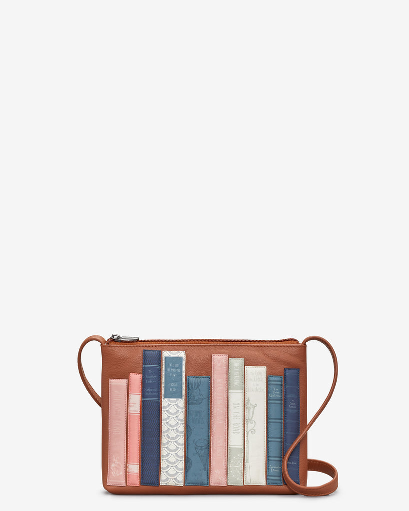 Bookworm Tan Leather Cross Body Bag - Tan - Yoshi
