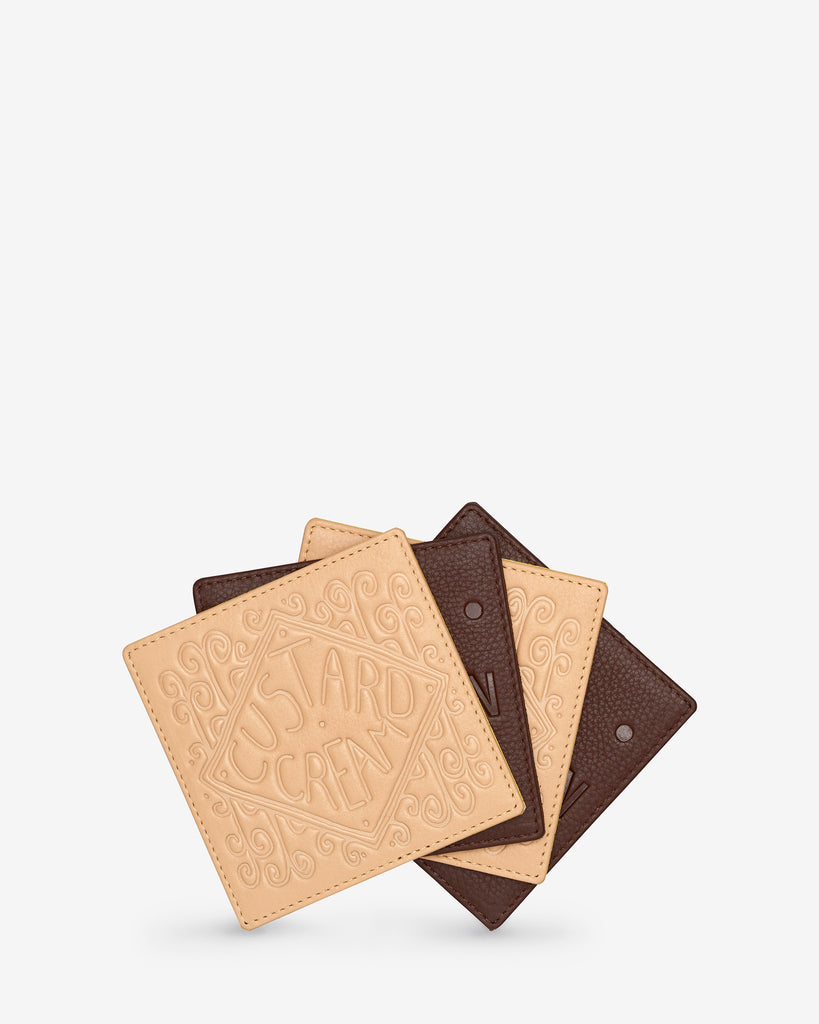 Bourbon and Custard Cream Biscuit Leather Coaster Set - Yoshi