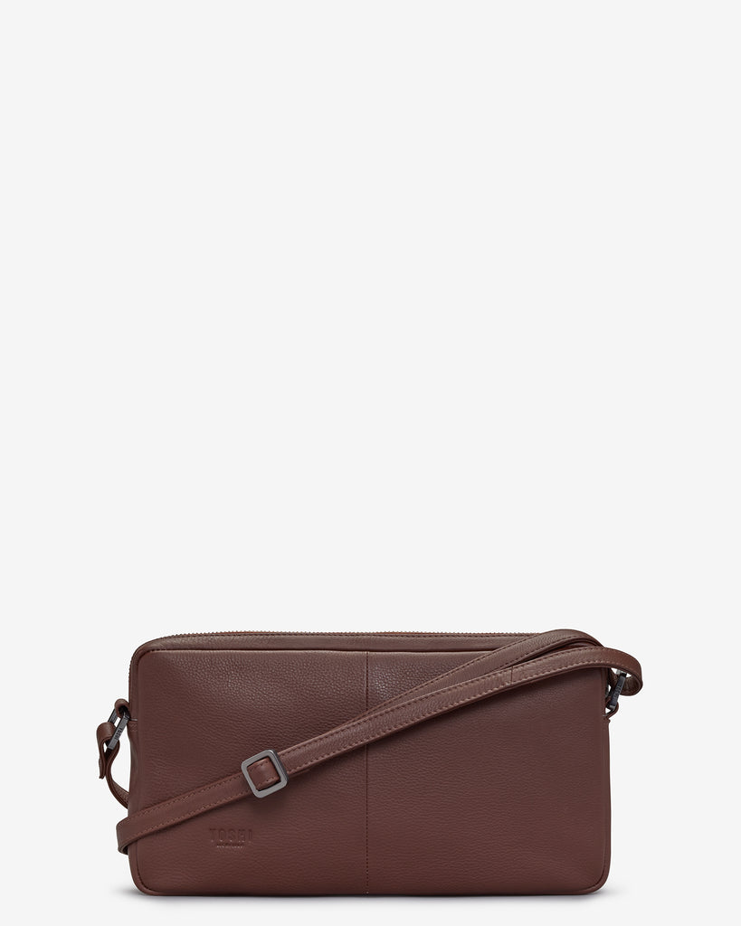 Bourbon Biscuit Leather Cross Body Bag - Yoshi