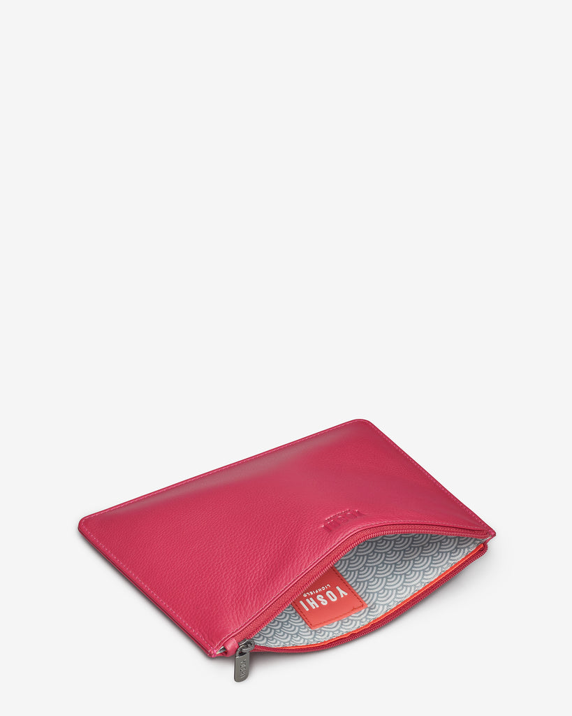 Raspberry Leather Brooklyn Pouch - Yoshi