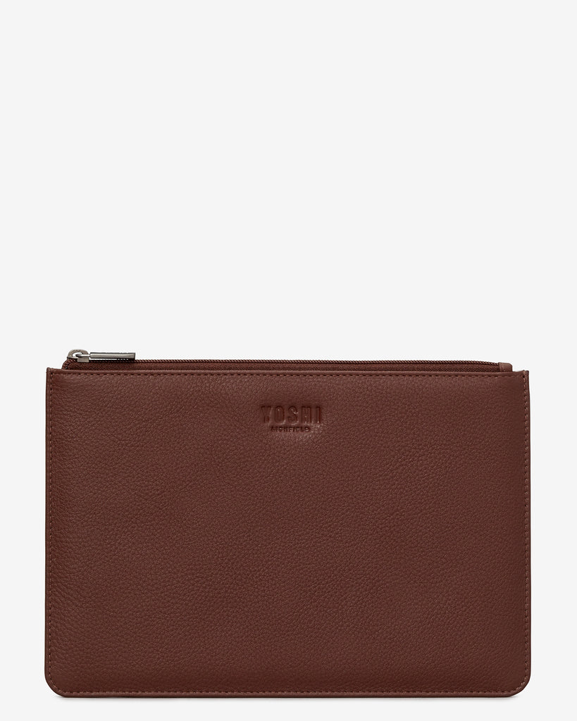 Brown Leather Brooklyn Pouch - Brown - Yoshi