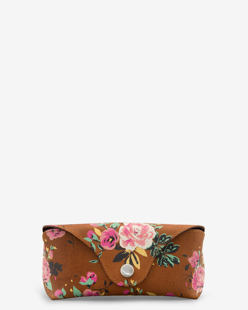 Brown Leather Floral Print Glasses Case - Brown - Yoshi