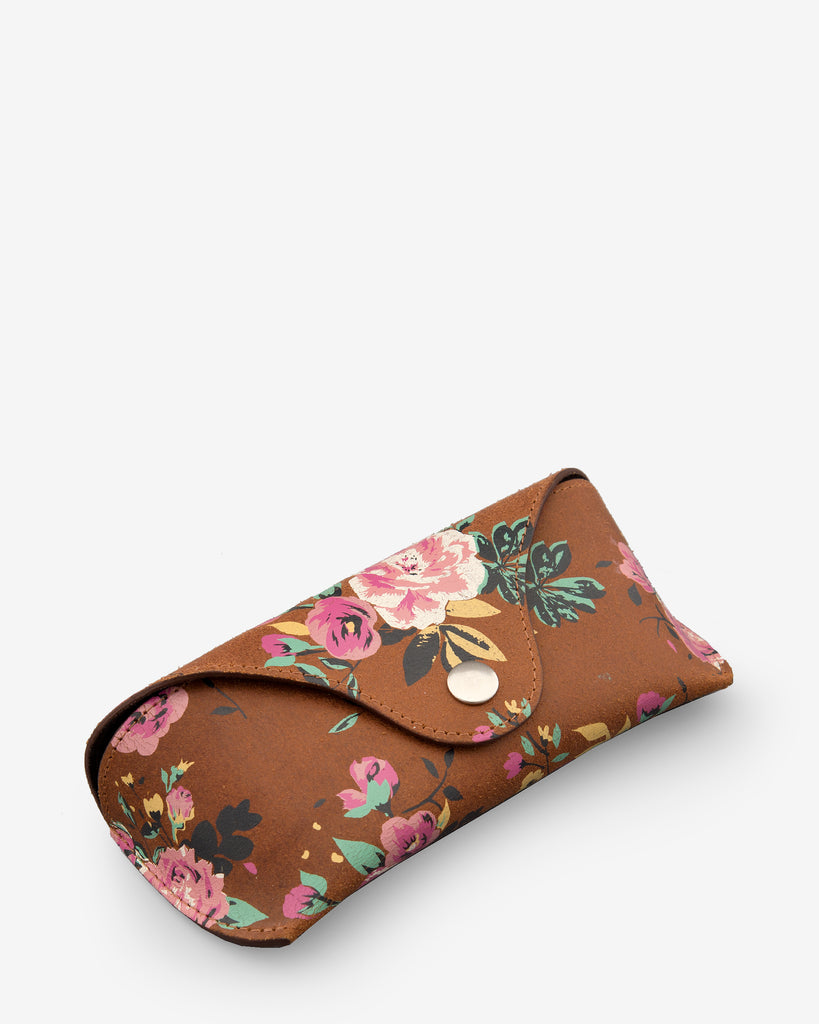 Brown Leather Floral Print Glasses Case -  - Yoshi