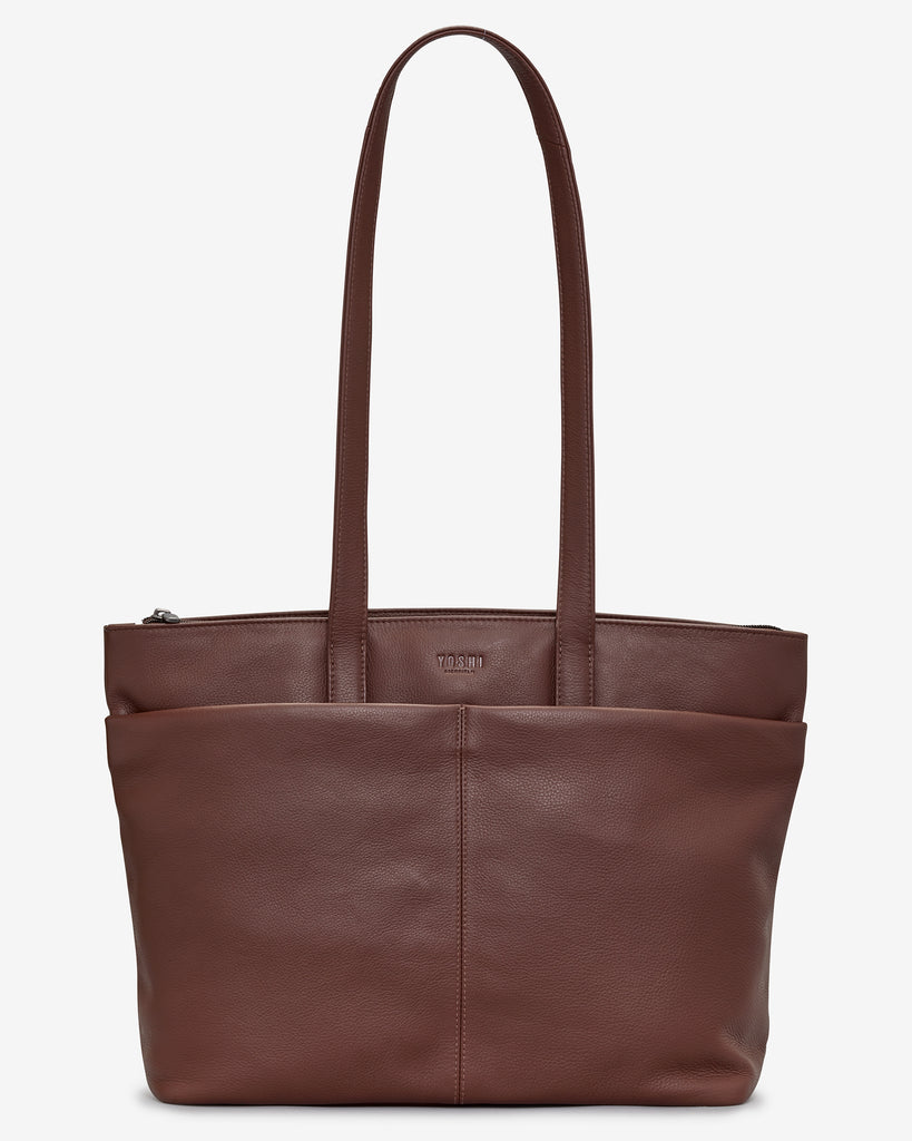 Gresley Brown Leather Shopper Bag - Brown - Yoshi
