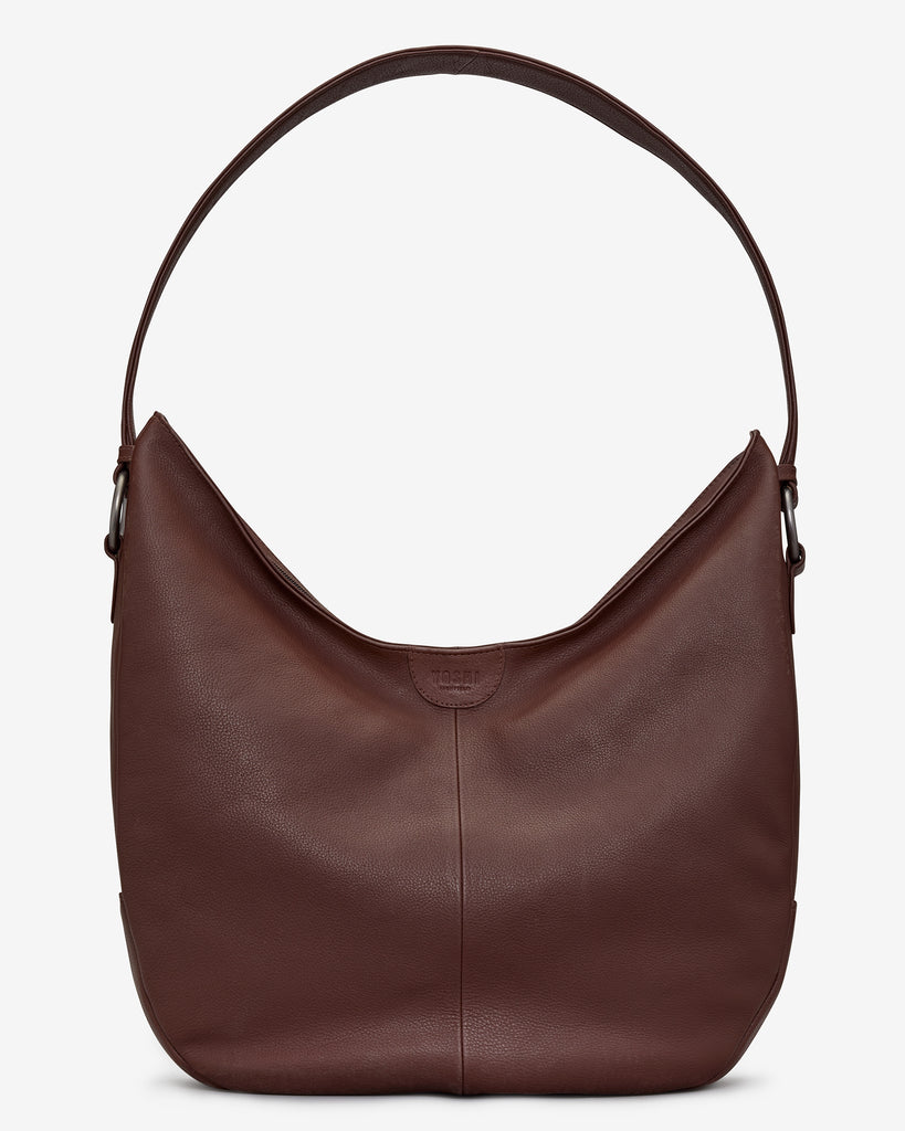 Ludlow Brown Leather Shoulder Bag - Brown - Yoshi