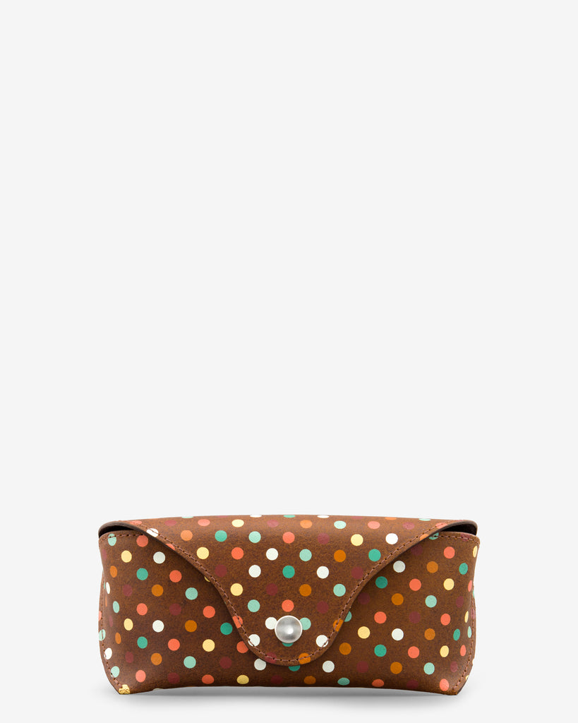 Brown Leather Polka Print Glasses Case - Yoshi