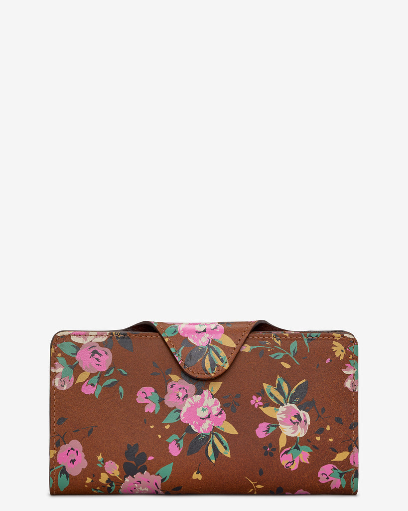 Brown Satchel Leather Purse with Floral Print - Brown - Yoshi