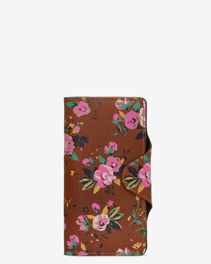 Brown Satchel Leather Purse with Floral Print - Yoshi